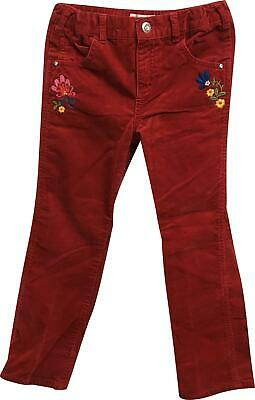 Girls M&S Red Floral Trousers Age 6-7 Years KM326