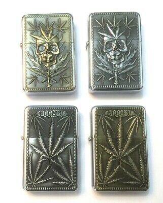 PETROL LIGHTER FLIP LID METAL WINDPROOF LEAF SKULLS BRASS SILVER with POUCH