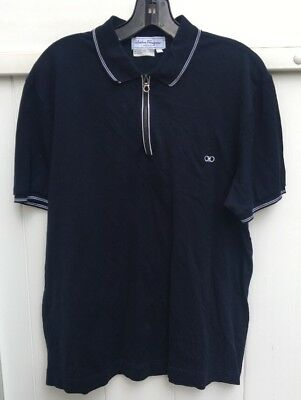 vintage salvatore Ferragamo navy blue zipper polo shirt large made in italy