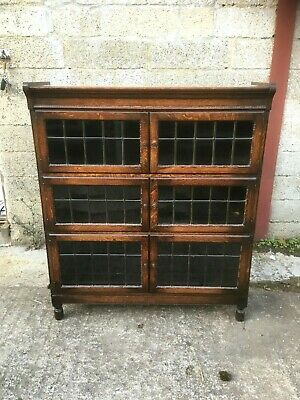 Vintage Oak 3 Section Minty Stacking Bookcase With Leaded Glass Doors