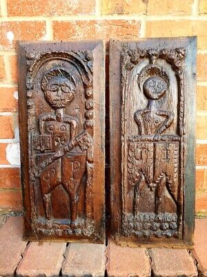 Pair Mid 16thC French Antique Carved Oak Panels of St Paul & St John, Circa 1550
