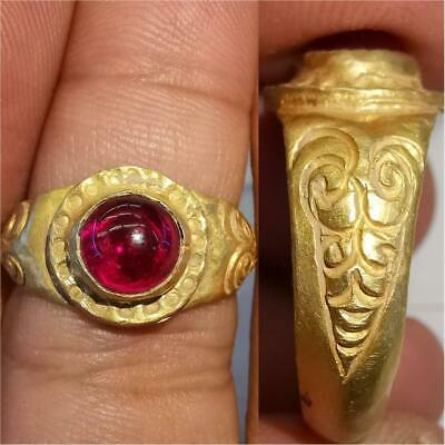 Rare Found Ancient Ruby stone High carat Gold Beautiful Ring 7 grams # 48