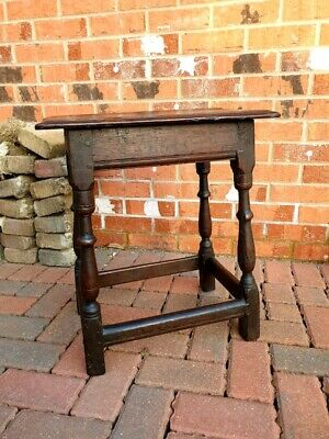 Original 17th Century English Antique Oak Joint Stool, Circa 1680, Bench Seat