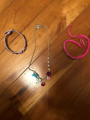 Girl's Jewellery, Necklace And 2x Bracelets Hardly Worn