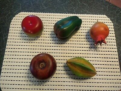 5 X Pieces of Coloured Wooden Fruit Ornaments Treen