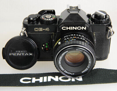 Chinon CE-4 K Mount 35mm SLR, Pentax-M 50mm F/2 Prime Lens, Working, Excellent