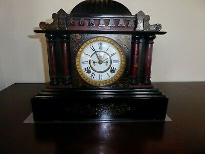 """Ansonia """"Bombay"""" model cast-iron mantle clock with open escapement  Works good!"""