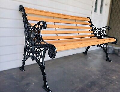 Antique Cedar and Cast Iron Garden or Patio 3 seater chair