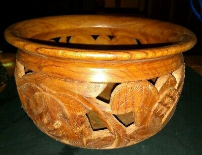 Turned Wood Bowl Intricately Carved  with Cut Outs Mahogany? Unpolished Floral