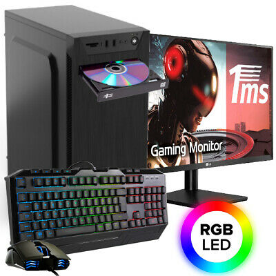 AMD Gaming PC Komplett Set AMD FX™ Quad 4x 3,4 GHz Radeon™ SSD TFT Windows10 Pro