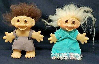 "Thomas DAM Original 1960's Lot of 2 Troll 5"" Doll Old Man & Old Lady Loose EUC"