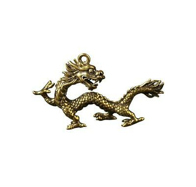 Collection OLD Pure brass hand Hollowing Carving dragon small statue pendant