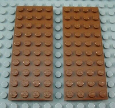 LEGO Lot of 6 Reddish Brown 2x8 Flat Building Plate Parts