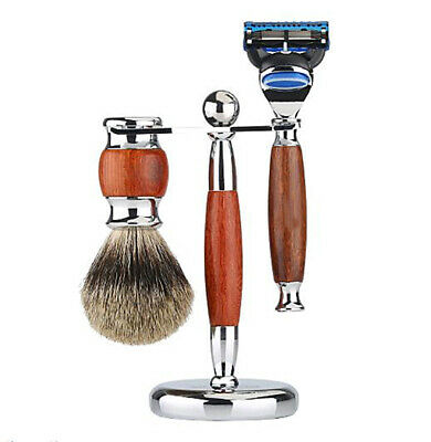 "3in1 Shaving Brush, Razor & Stand Holder 6.1"" Alloy with Solid Ebony Wood Design"