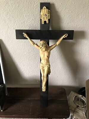 "Antique Wooden Wall Luminus Crucifix Large Hand Painted 30"" Chalkware Jesus"