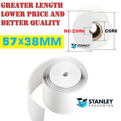 75x Thermal Paper 57x38mm Receipt Roll EFTPOS 57mm x 36mm Premium *No Cores*