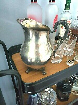 Antique Silver Footed Paw Footed Large Water Serving Pitcher w/ Ice Catcher
