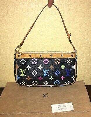 LOUIS VUITTON Black Multicolor Monogram Pochette Accessories Clutch Wrist Pouch