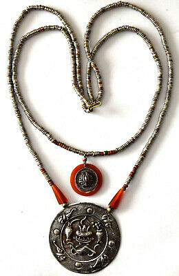 """Antique Chinese Sterling Silver, Carnelian and Brass Necklace 20"""" Long"""