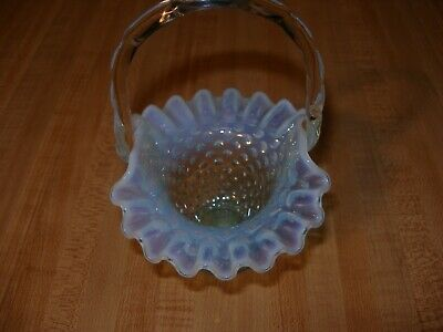 1940's Fenton Green Opalescent Hobnail Ruffled Glass Basket with Handle