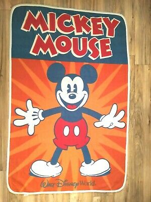 Disney Parks Mickey Mouse Fleece Throw Blanket 62 X 40 Disney Orange Red Navy