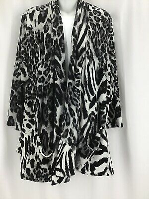 Moa Moa Size 2X Collection Animal Print Stretch Cardigan Duster Sweater  #D