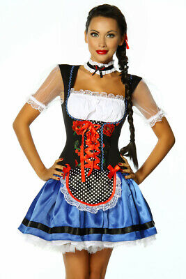 Dirndl Black Blue White Red with Apron for Oktoberfest Party Carnival L XL