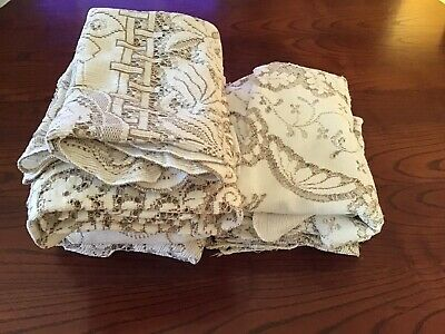 Bulk Lot Of Eight Nottingham Lace Tablecloths/ Supper Cloths For Craft  Only.
