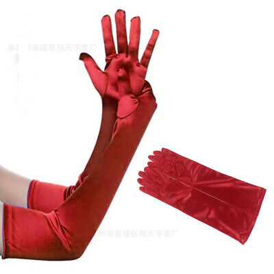 Waterproof Satin Lady Long Finger Gloves Womens Prom Fancy Dress Arm Glove Red