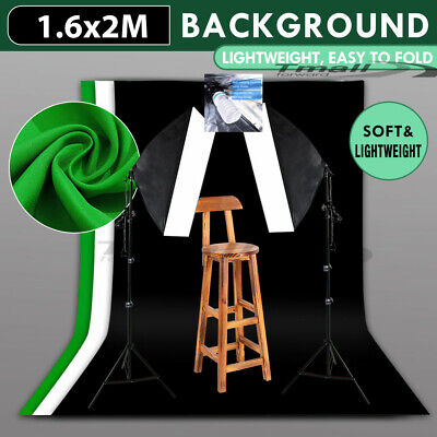 3x Photography Backdrop Green Screen Background Studio Easy SOFTBOX Lighting KIT