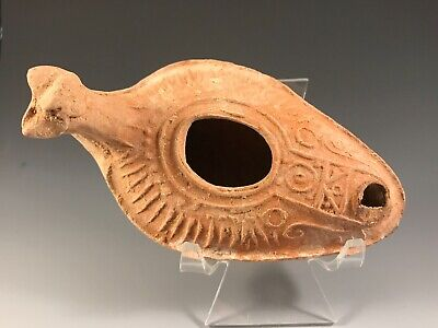 Ancient Byzantine Zoomorphic Oil Lamp; Holy Land A.d. 300 - 800 A.d. Scarce!