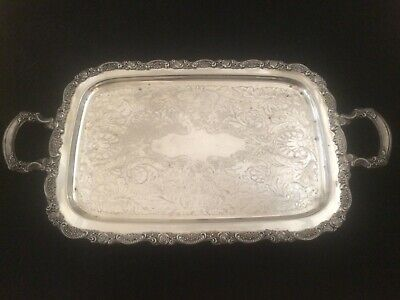 Antique Large Ornate Oneida Silver Plate Footed Serving Butler Tray 24""