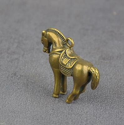 Exquisite Chinese Old pure brass Handmade carving horse small statue Gift