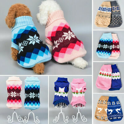 Small Pet Dog Warm Jumper Knitted Sweater Clothes Cat Knitwear Costume Apparel
