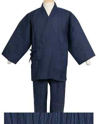 Japanese SAMUE Traditional Relaxing Work Wear Zen Made in JAPAN Ramie Navy
