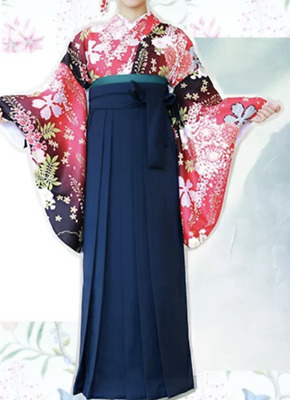 Japanese Women's Traditional Kimono HAKAMA Skirt Obi Belt Set 09-1 Red Navy