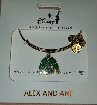 Disney Parks Alex and Ani Christmas 2019 Green Ugly Sweater Bracelet Gold New
