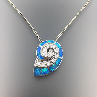 Sterling Silver Clear Cubic Zirconia Opal Doublet Inlay Sea Shell Necklace #3292