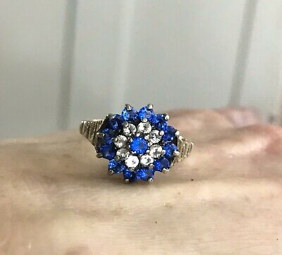 Silver Art Deco Electric / Colbat Blue Bohemian Egyptian Revival Ring Size M