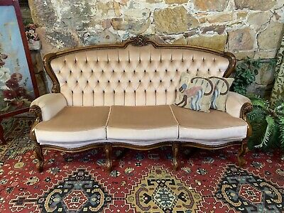 Vintage French Louis Wingback Chesterfield Lounge,3 Seater Sofa~Chair-Velvet