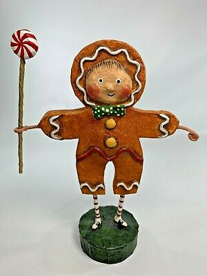 Lori Mitchell Gingerbread Boy Collectible Christmas Figurine Peppermint Candy