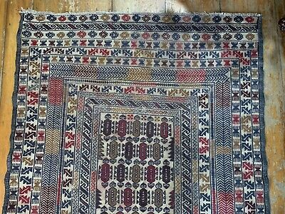 Vintage Middle East Sumac Floor Rug Hand Knotted~Wool~Earth Colours-Exotic