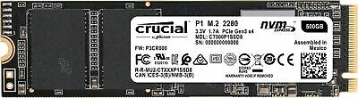 CRUCIAL P1 M.2 2280 NVME/PCIE SSD 1,900MB/s Read 500 GB SOLID STATE DRIVE NEW AU