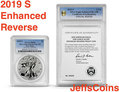 2019 S Silver Eagle ENHANCED REVERSE Proof Dollar First Strike 19XE PCGS PR70