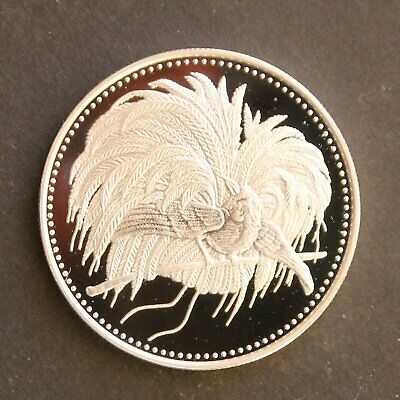 1894 - 1994 PNG 5 Kina Anniversary Proof .900 Silver coin Bird of Paradise rare