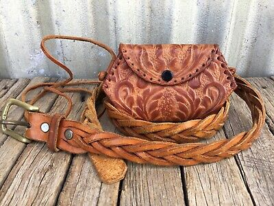 VINTAGE Boho WOVEN Plaited LEATHER BELT & TOOLED LEATHER BAG Retro FESTIVAL
