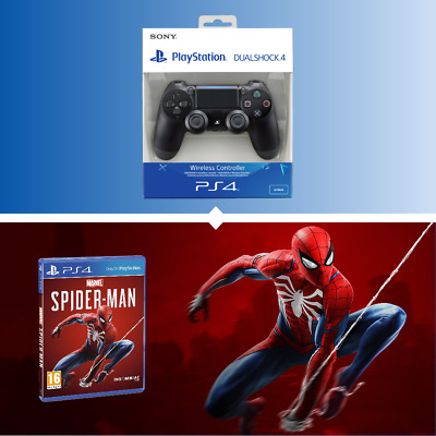 Official Sony Ps4 Dualshock 4 V2 Wireless Controller And Spiderman Std Edition
