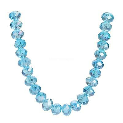 Faceted Lt Lake Blue AB Glass Craft Beads 3-8mm Rondelle Loose Wholesale Lots