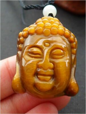 CHINESE Tiger CAT Eye JADE PENDANT Shakyamuni Buddha God 释迦牟尼佛