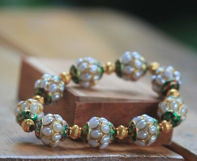 Afghan Stunning Beautiful Synthetic White Beads Bracelet Brass Islamic Style